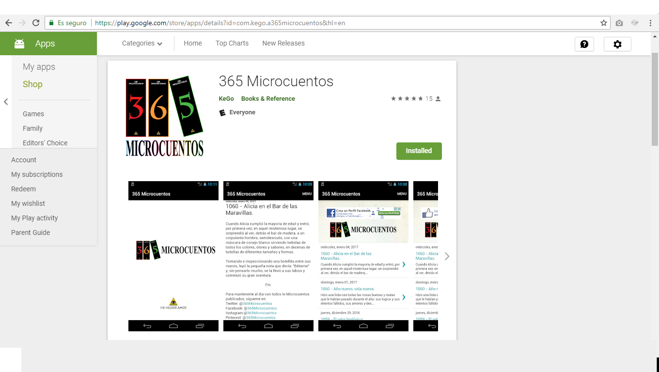 365Microcuentos Android Landing Page