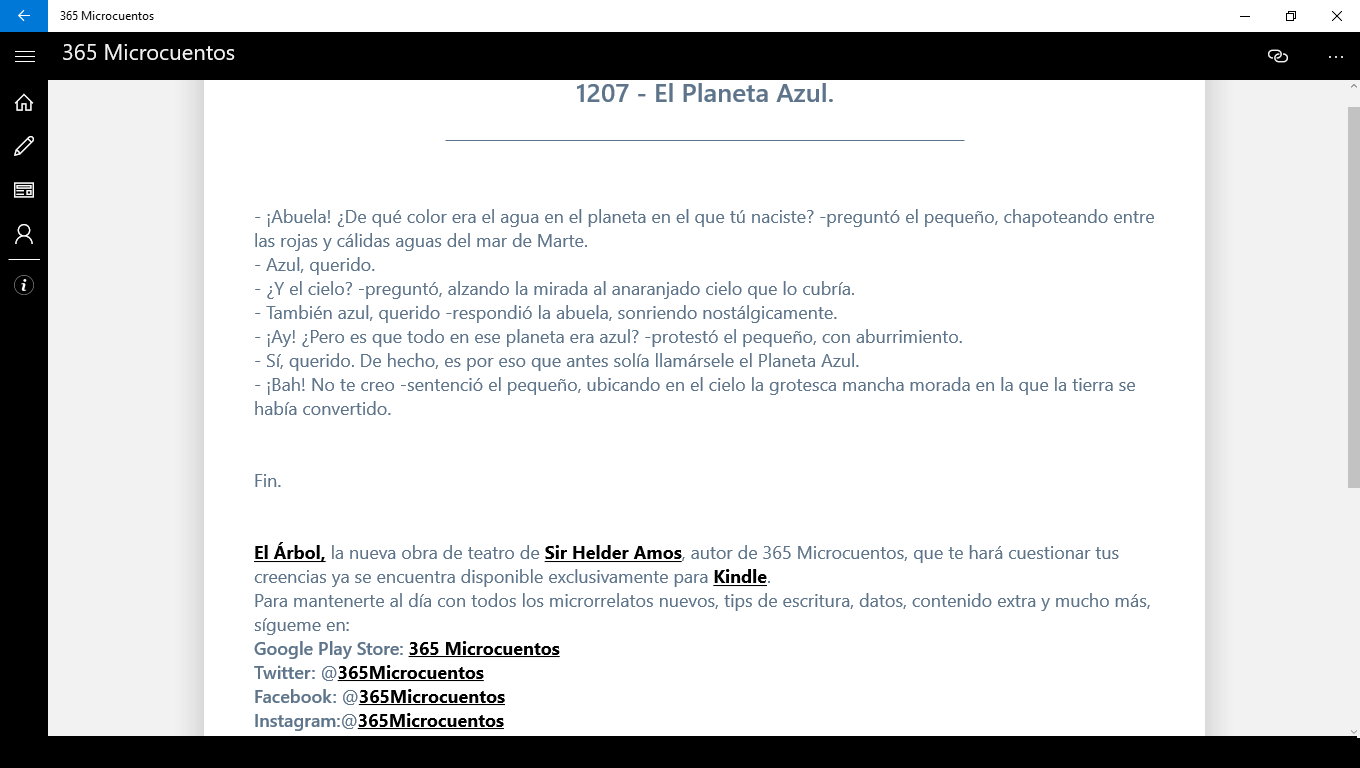365Microcuentos UWP Reading Page